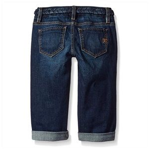Miss Me Bottoms - Miss Me Girls Denim Cuffed Capri Jeans Braid Belt